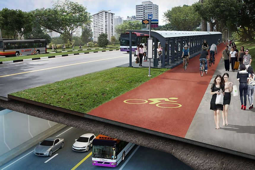 An artist's impression of the proposed North-South Expressway, featuring cycling and walking paths built on the surface level to mirror the expressway.