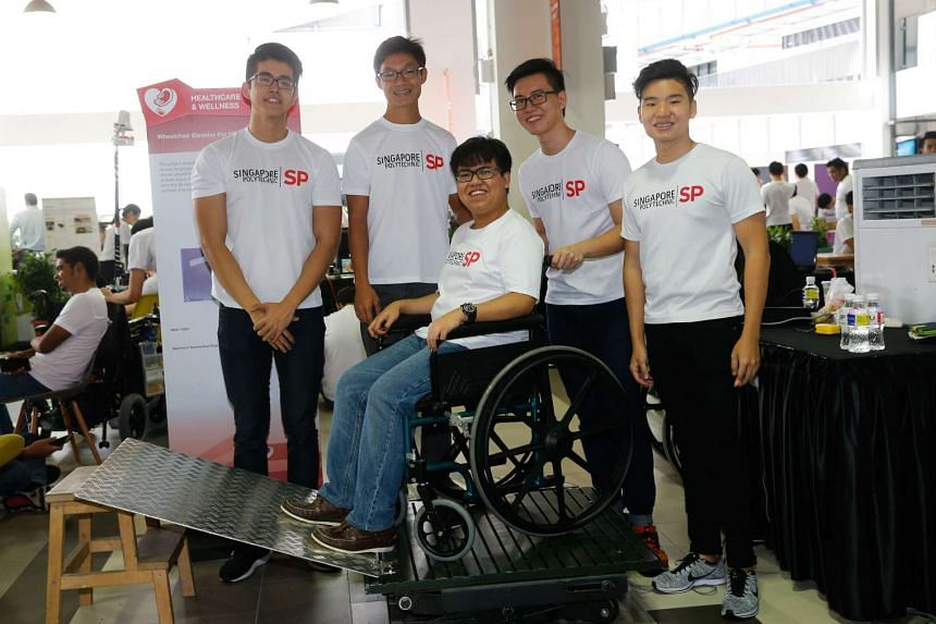 The team from Singapore Polytechnic's Diploma in Aeronautical Engineering, (from left) Tan Jun Ren, Roy Tan Jia Jing, Dylan Conceicao, Lim Lu Xin and Clarence Theng, all 19.