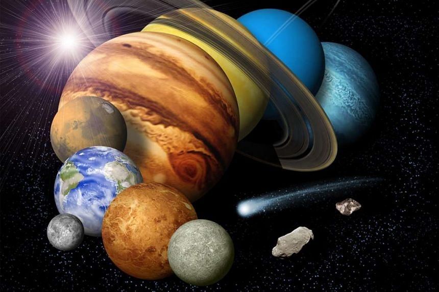 A Nasa artist's image of the planets in the solar system.