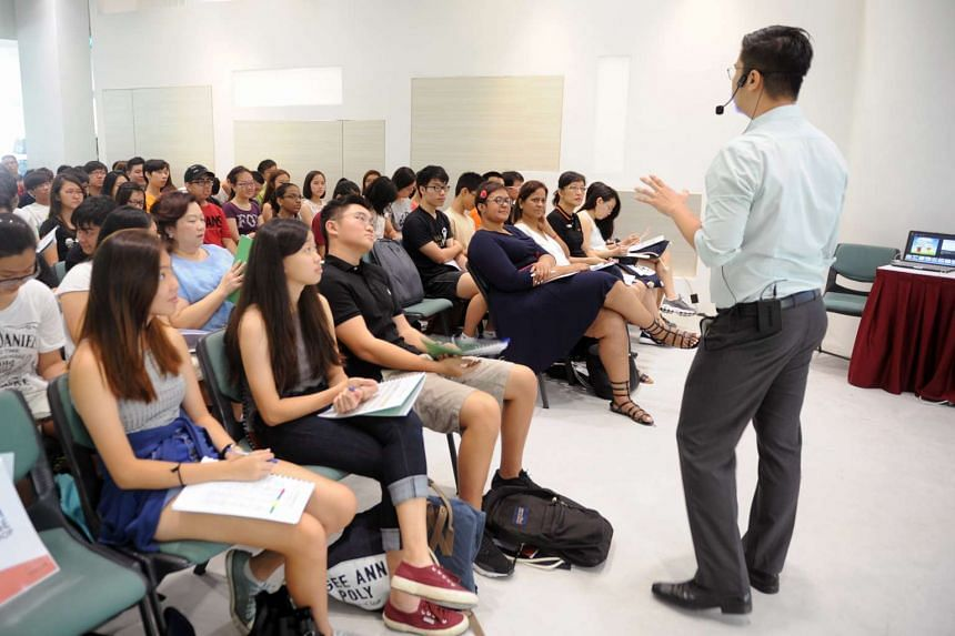 Ngee Ann Polytechnic students attending a career guidance workshop.