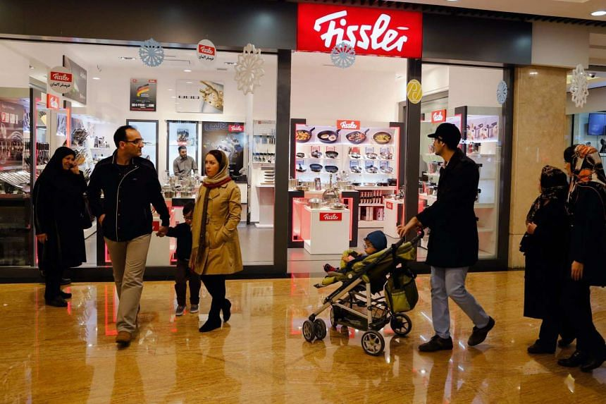 People at a shopping centre in Tehran, Iran, on Jan 21.