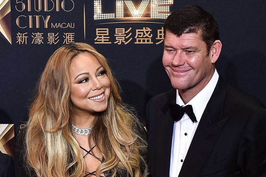 Singer Mariah Carey (left) and James Packer at the red carpet ahead of the opening ceremony of the Studio City casino resort in Macau.