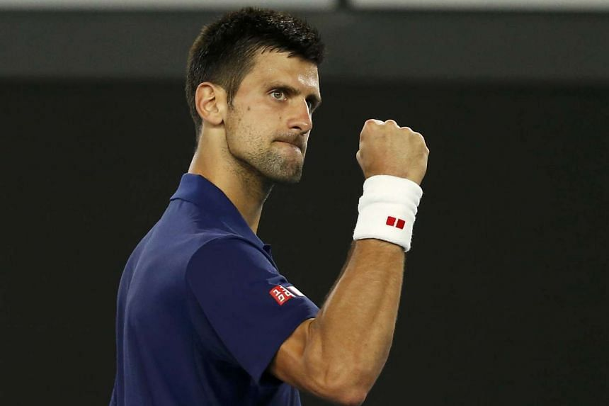 Djokovic celebrates after winning his third round match against Andreas Seppi.