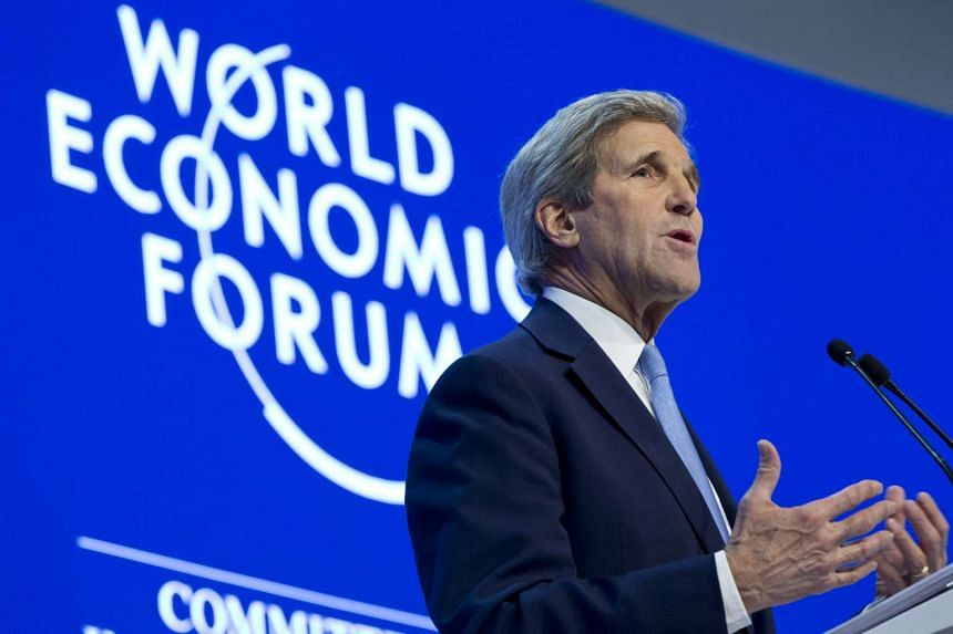 US Secretary of State John Kerry delivers a speech at the 2016 World Economic Forum.