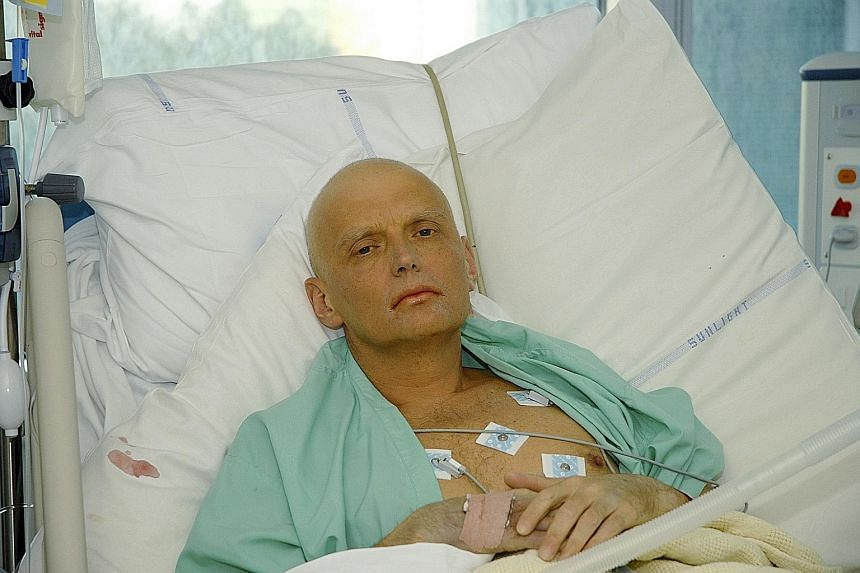 Mr Alexander Litvinenko in a London hospital in November 2006, dying of radiation poisoning. In a statement before his death, the former KGB agent accused Russian President Vladimir Putin of ordering his killing.