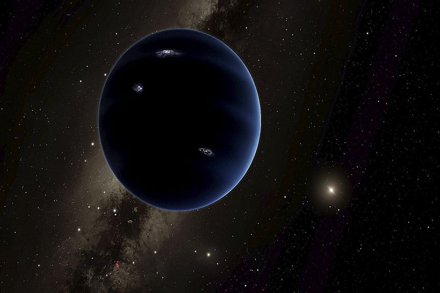 """An artist's impression of """"Planet Nine"""", in a handout from the California Institute of Technology. So far, the planet has not been observed directly and a host of powerful telescopes are hunting for it."""