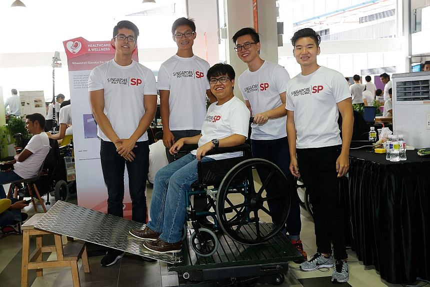 The team, comprising (from left) Tan Jun Ren, Roy Tan Jia Jing, Dylan Conceicao, Lim Lu Xin and Clarence Theng, took eight months to develop the wheelchair elevator.