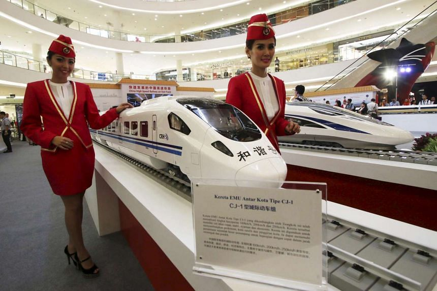 Models of a high-speed train on display at the China High Speed Railway On Fast Track exhibition in Jakarta last August. Construction began yesterday on a US$5.5 billion high-speed train line between Jakarta and Bandung, according to China Daily.
