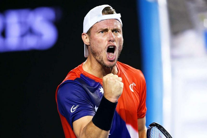 Lleyton Hewitt in action at the Australian Open Grand Slam.