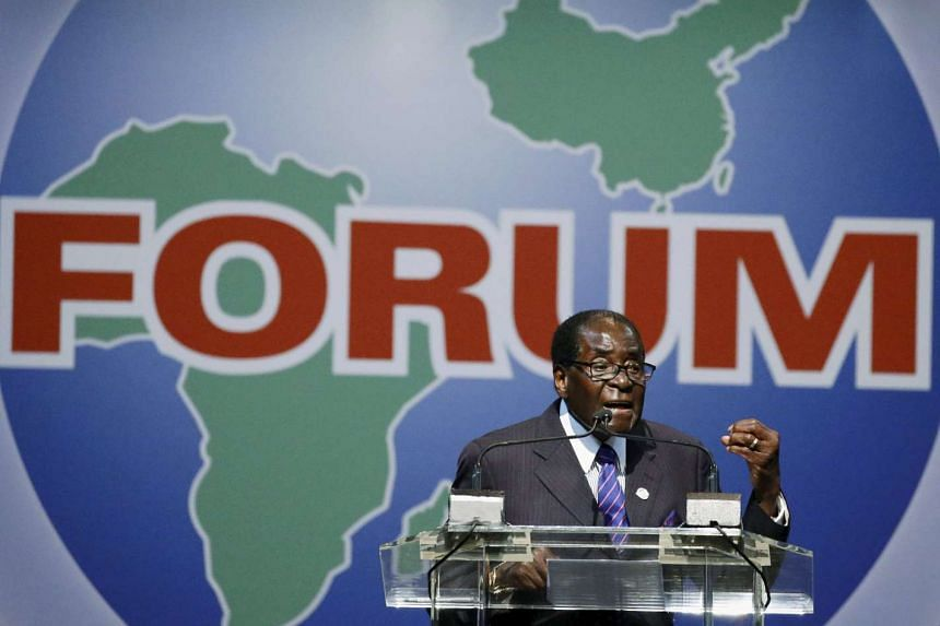 Robert Mugabe speaks during a Forum on China-Africa Cooperation in Johannesburg on Dec 4, 2015.