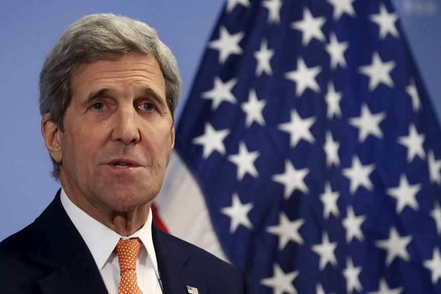 US Secretary of State John Kerry delivering a statement on the lifting of sanctions on Iran, in Vienna on Jan 16.