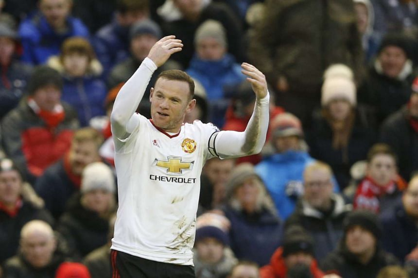 Wayne Rooney celebrates a goal during a match against Liverpool on Jan 17, 2016.