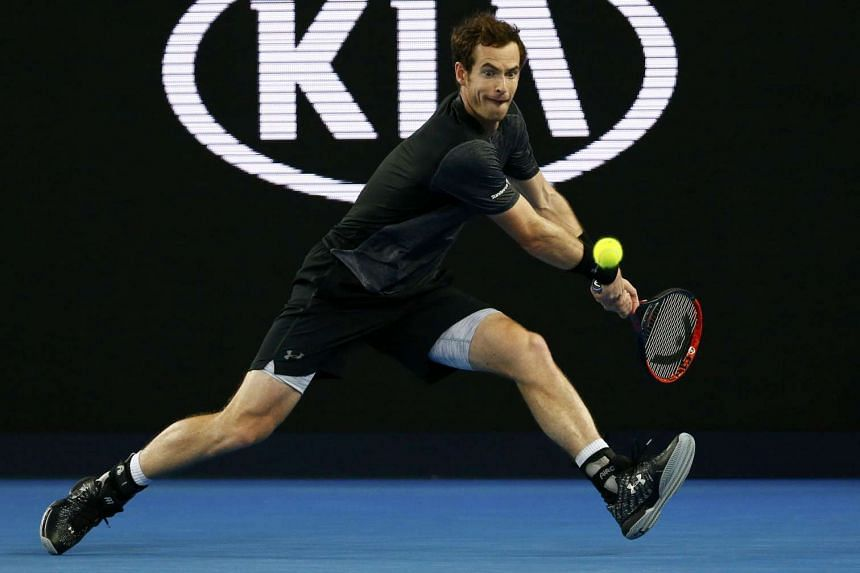 Andy Murray hits a shot during the match against Joao Sousa at the Australian Open on Jan 23, 2016.