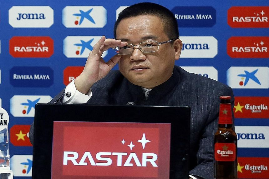 Rastar Group chief executive Chen Yansheng, at a news conference, says that he plans to invest another €45 million (S$70 million) to hasten the club's development.