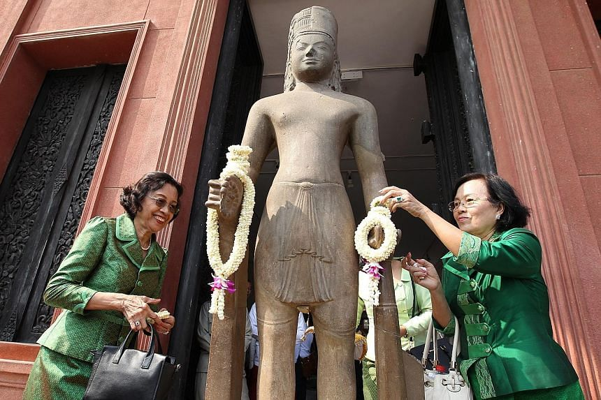 The restored Harihara statue was unveiled in a ceremony at the National Museum in Phnom Penh on Thursday, 130 years after the head of the historical artefact was taken to France from Cambodia.
