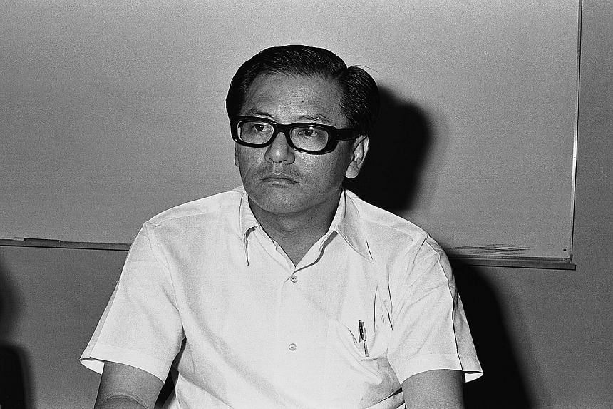 (Right) The first public photo of Phey since he went on the run in 1979, and (left) Phey in a 1973 photo at a meeting with the press on the opening of Singapore's first cooperative supermarket.