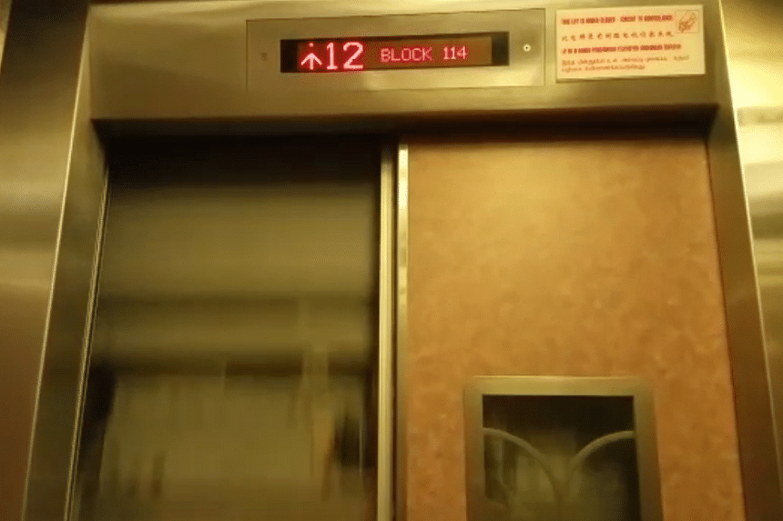 A lift in Punggol was seen operating with its inner door partly open.