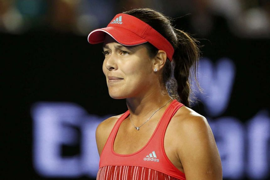 Ana Ivanovic reacts during her third round after play is resumed at the Australian Open on Jan 23, 2016.