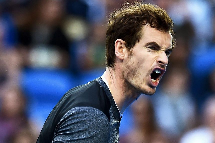 Andy Murray reacts during his third round match against Joao Sousa at the Australian Open.