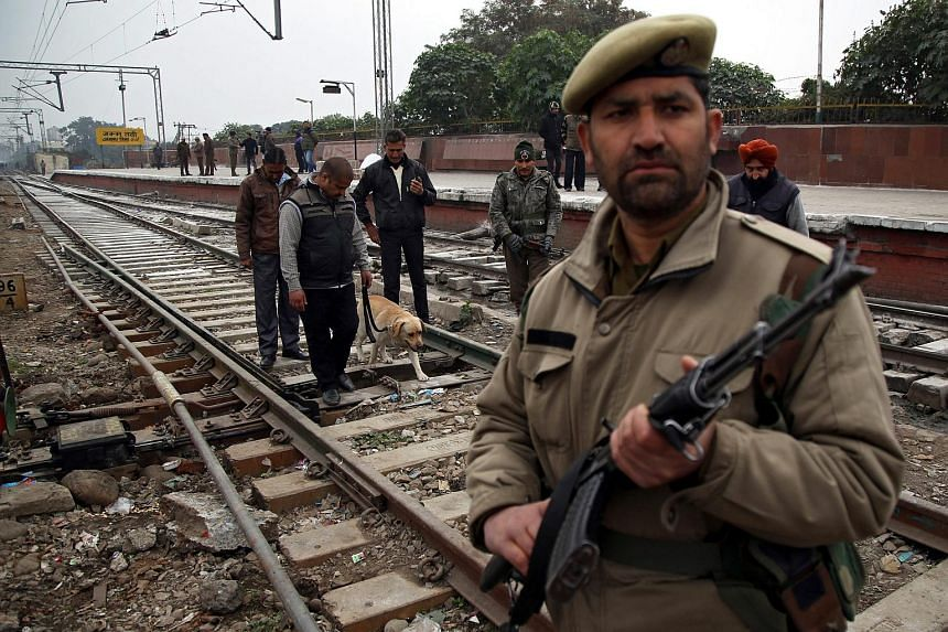 Security is beefed up at a railway station in Jammu, ahead of India marking its Republic Day on Jan 26, 2015.