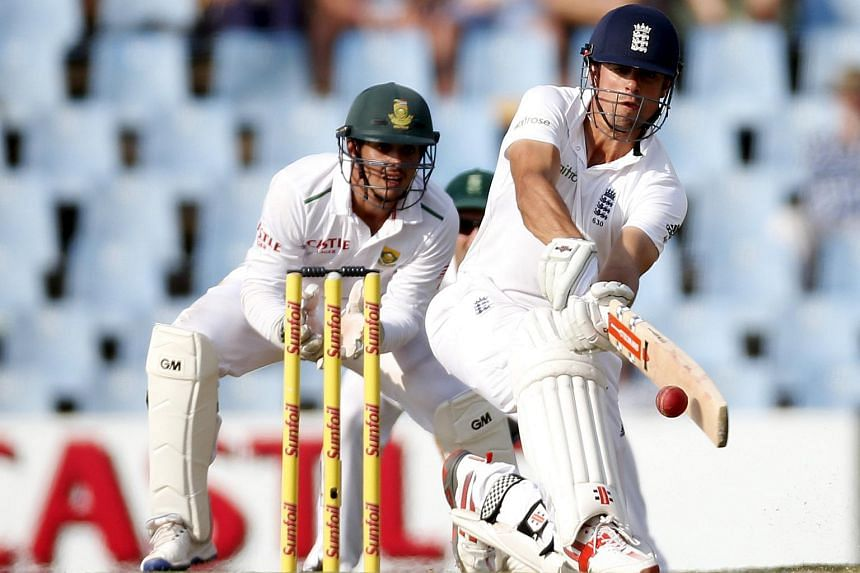 England's captain Alastair Cook plays a shot during a cricket test match against South Africa on Jan 23, 2016.