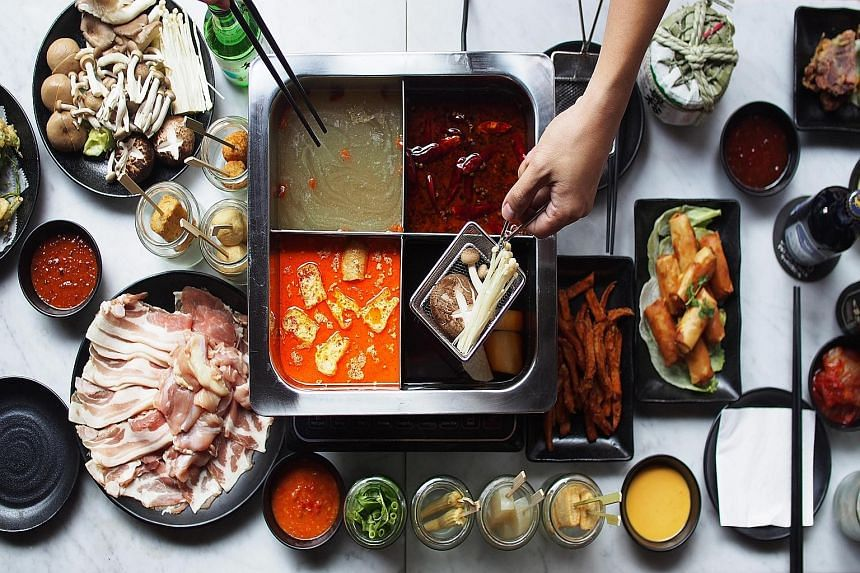 Hotpot soups ($6 to $8), options include laksa, bak kut teh, Sichuan mala and sake-infused asari clams.