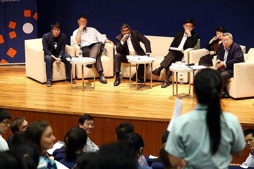 (From left) Timbre Group managing director Edward Chia, Lien Centre for Social Innovation chairman Tan Chi Chiu, Strategic Moves chief executive officer and panel moderator Viswa Sadasivan, Minister in the Prime Minister's Office Chan Chun Sing; Soci