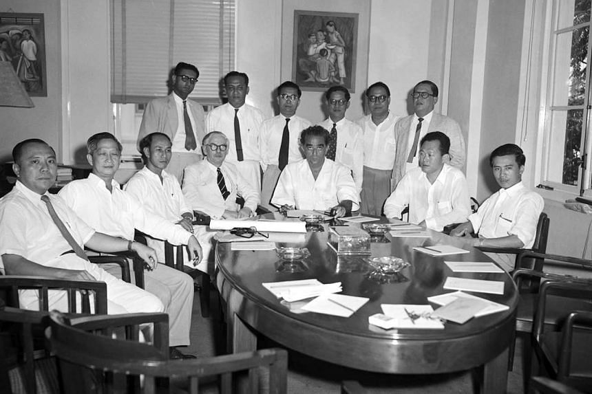 British Constitutional Law expert Ivor Jennings (seated in centre, with spectacles) in Singapore in 1956 with members of the legislative assembly then, including (seated, from far right) PAP assemblymen Lim Chin Siong and Mr Lee, and then Chief Minister D