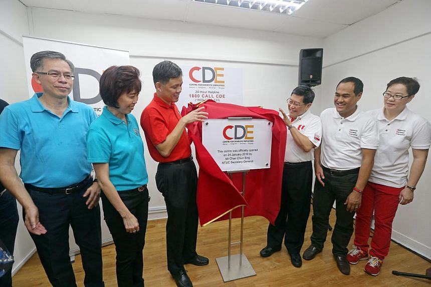 NTUC Secretary-General Chan Chun Sing and Mr Yeo Guat Kwang, chairman of CDE were among other guests at the opening of a new facility to help domestic workers at Goldhill Centre in Thomson Road on  Jan 24, 2016.