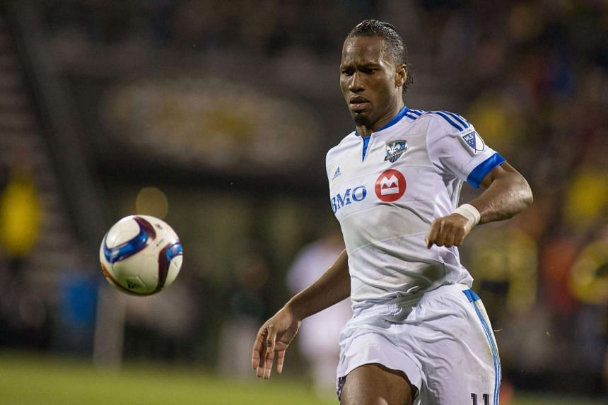 Montreal Impact forward Didier Drogba chases down a ball.