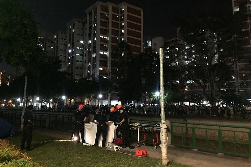 Rescue workers gathering near the Alexandra Canal.