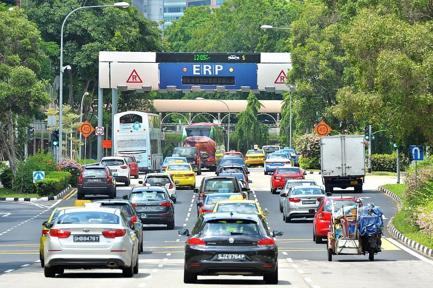 Vehicles heading towards the Electronic Road Pricing (ERP) gantry at Havelock Road.