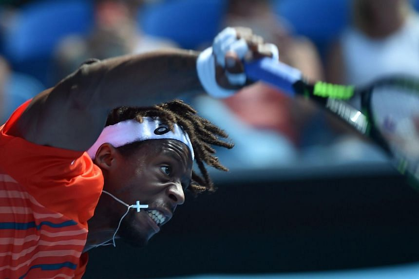 France's Gael Monfils in action at the Australian Open tennis tournament in Melbourne on Jan 25, 2016.