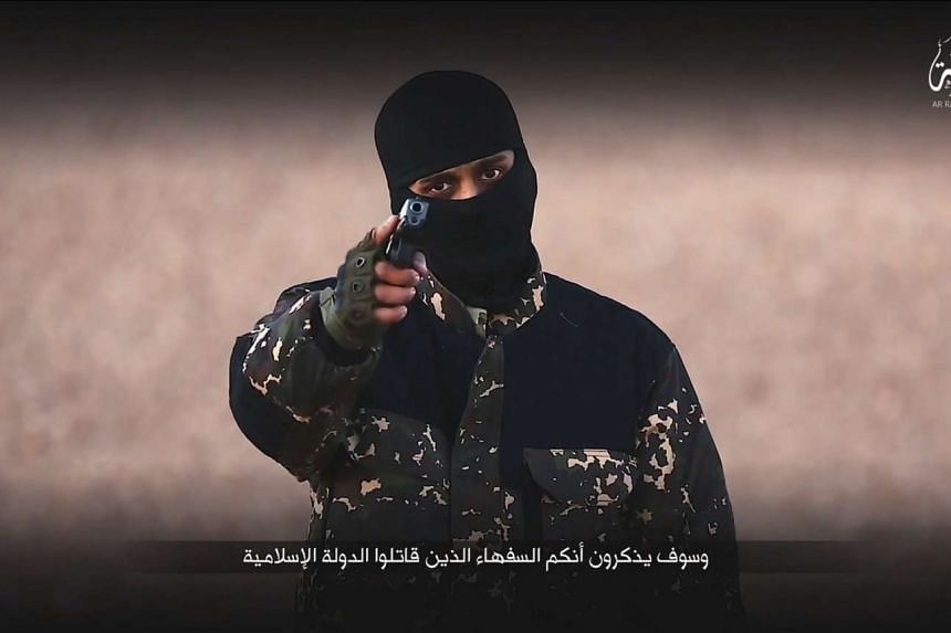 A masked man points a weapon as he speaks in this still image from a handout video obtained on Jan 4, 2016.