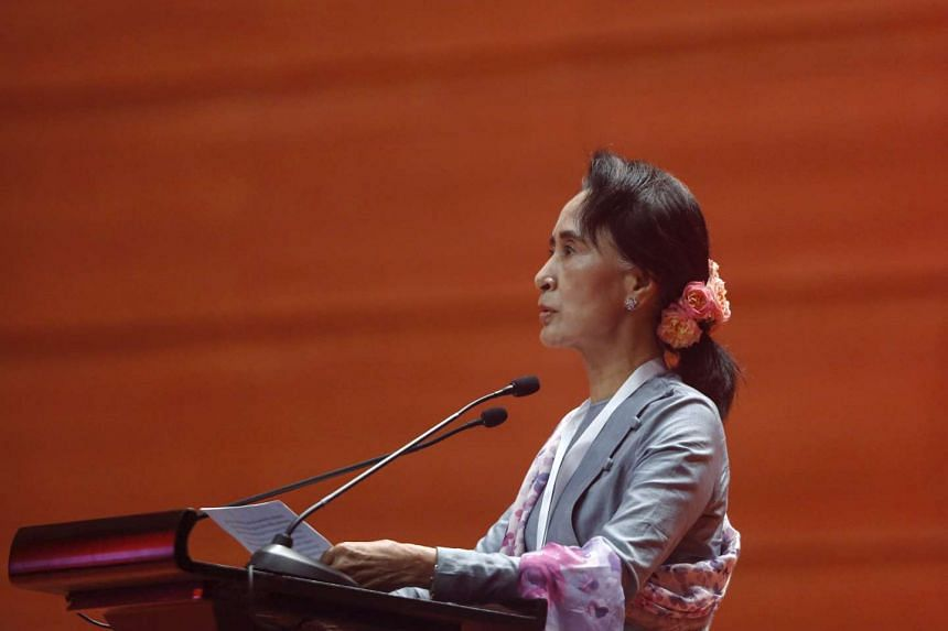 Aung San Suu Kyi gives a speech at the Myanmar Convention Centre II in Naypyitaw on Jan 12, 2016.