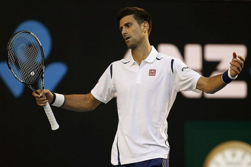 Serbia's Novak Djokovic reacting during his fourth-round match against France's Gilles Simon at the Australian Open. He made a whopping 100 unforced errors in the match.