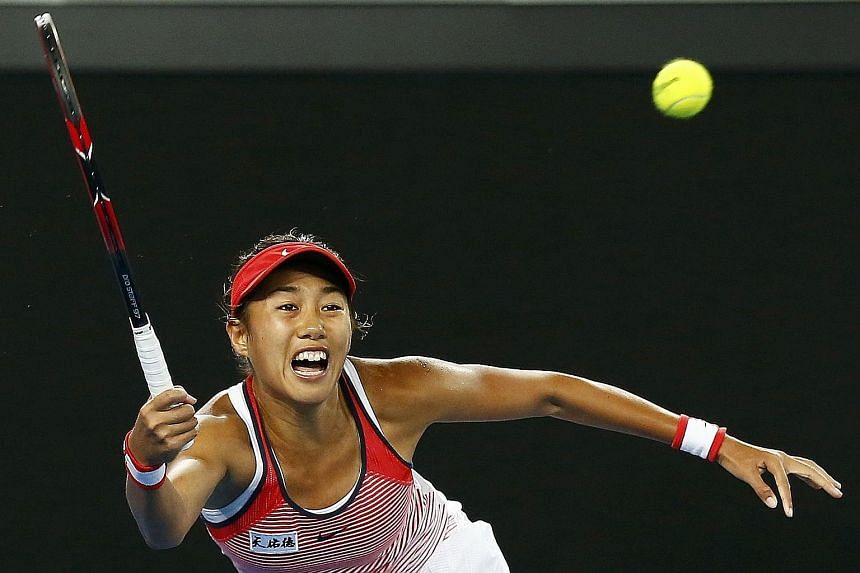 China's Zhang Shuai running to hit a shot during her third-round match against Varvara Lepchenko of the US at the Australian Open. She is on a six-match winning streak after coming through qualifying and will face 15th seed Madison Keys in the fourth