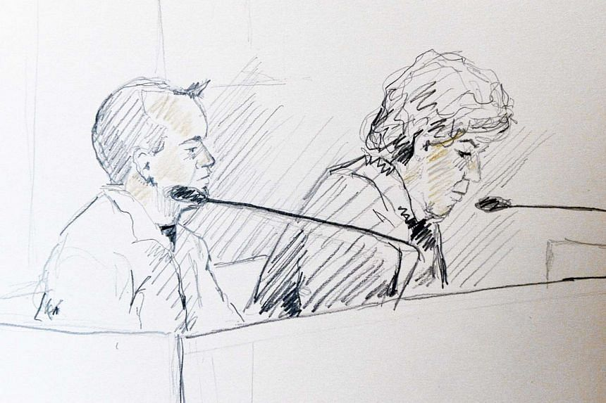 A courtroom drawing showing Swedish doctor Martin Trenneborg (left) and his lawyer Mari Schaub in court in Stockholm on Jan 25, 2016.