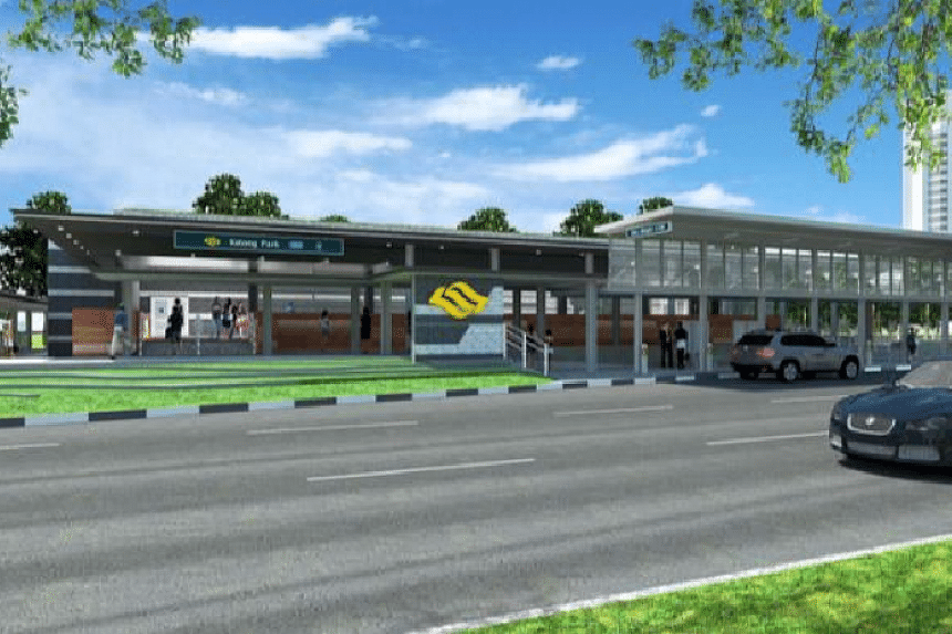 An artist's impression of the exterior of Katong Park station.
