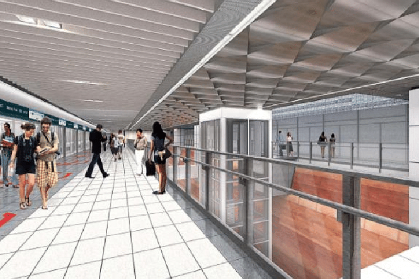An artist's impression of the interior of Katong Park station.
