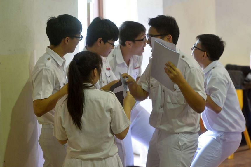 Chung Cheng High School (Main) students gathering after the release of their O-level results.