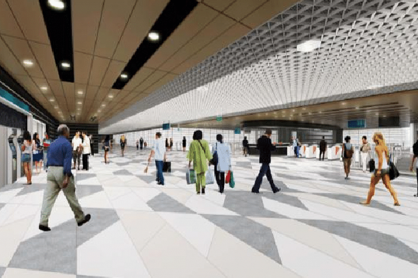 An artist's impression of the interior of Tanjong Rhu station.