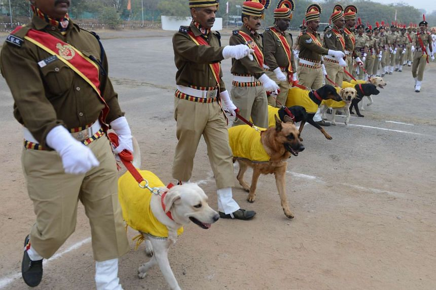 Pipers from the Jammu and Kashmir Police taking part in Republic Day celebraions in New Delhi on Jan 26, 2016.