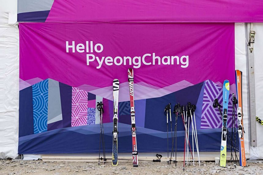 Skiing equipment displayed at the Jeongseon Alpine Centre on Jan 22, 2016.