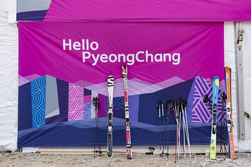 Skiing equipment displayed at the Jeongseon Alpine Centre on Jan 22, 2016.