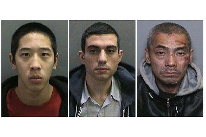 Inmates (from left) Jonathan Tieu, Hossein Nayeri, and Bac Duong, in an undated handout released by the Orange County, Sheriff's Department.