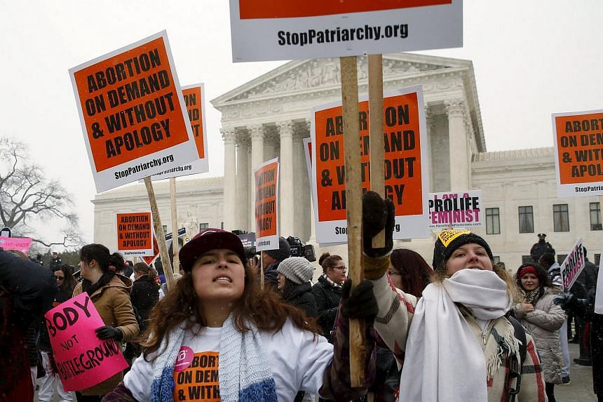 Pro-abortion protesters demonstrate in front of the US Supreme Court during the National March for Life rally on Jan 22, 2016.