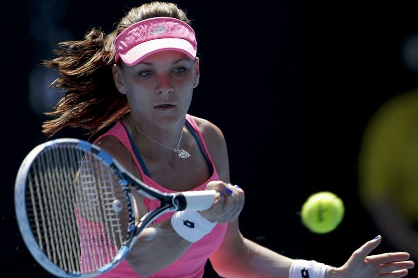 Agnieszka Radwanska in action during her quarter finals match against Carla Suarez Navarro at the Australian Open.