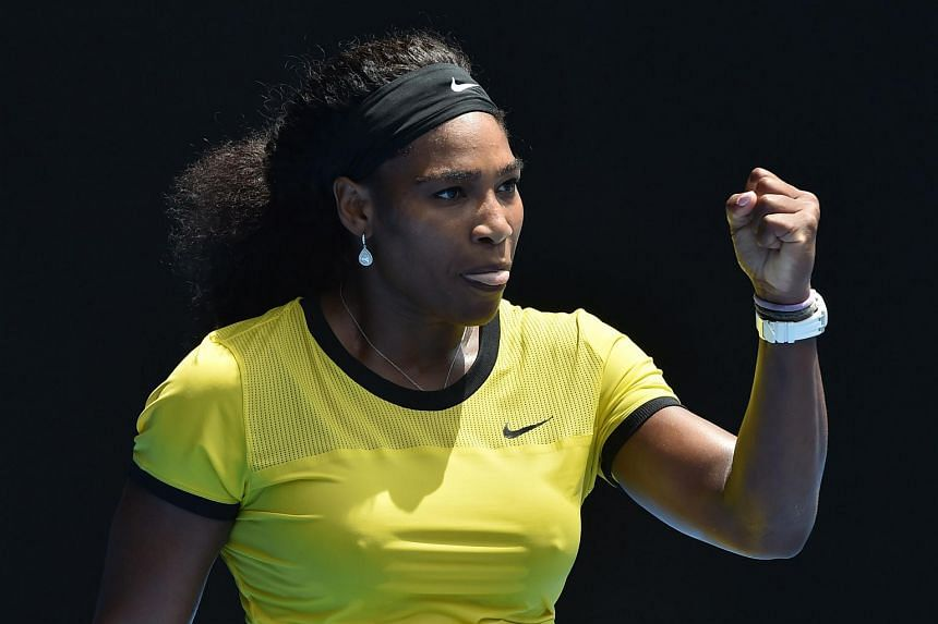 Serena Williams of the US reacts at the Australian Open tennis tournament in Melbourne on Jan 26, 2016.