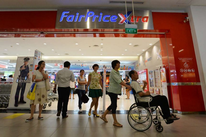 Shoppers at NTUC FairPrice Xtra at Serangoon NEX mall.